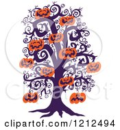 Cartoon Of A Bare Tree With Suspended Jackolantern Halloween Pumpkins Royalty Free Vector Clipart