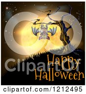 Cartoon Of A Vampire Bat Hanging From A Spooky Tree Against An Orange Full Moon Over Happy Halloween Text Royalty Free Vector Clipart by AtStockIllustration