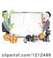 Cartoon Of A Happy Vampire Frankenstein Pumpkins And Black Cats Around A Blank Sign Royalty Free Vector Clipart by AtStockIllustration
