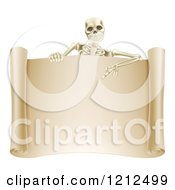 Happy Human Skeleton Pointing Down To A Blank Scroll Sign