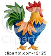 Clay Sculpture Clipart Colorful Rooster Royalty Free 3d Illustration by Amy Vangsgard