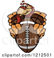 Cartoon Of A Turkey Bird Mascot Holding Out An American Football Royalty Free Vector Clipart