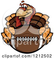 Cartoon Of A Turkey Bird Mascot Holding An American Football Thanksgiving Super Bowl Royalty Free Vector Clipart