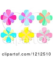 Cartoon Of A  Colorful Flower Designs Royalty Free Vector Clipart