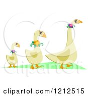 Cartoon Of A Trio Of Geese Wearing Flowers Royalty Free Vector Clipart by bpearth