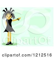 Cartoon Of A Gothic Girl Presenting A Green Background Royalty Free Vector Clipart by bpearth