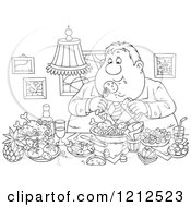 Cartoon Of An Outlined Gluttonous Obese Man Eating A Feast Royalty Free Vector Clipart by Alex Bannykh