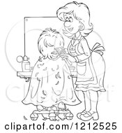 Cartoon Of An Outlined Female Hairstylist Cutting A Clients Hair Royalty Free Vector Clipart