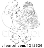 Cartoon Of An Outlined Baker Carrying An Ornate Wedding Cake Royalty Free Vector Clipart