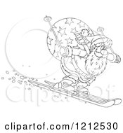 Cartoon Of An Outlined Santa Skiing Downhill With A Sack On His Back Royalty Free Vector Clipart