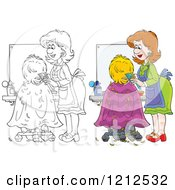 Cartoon Of An Outlined And Colored Female Hairstylist Cutting A Clients Hair Royalty Free Vector Clipart