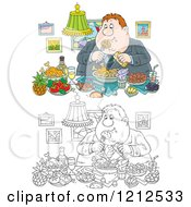 Cartoon Of An Outlined And Colored Gluttonous Obese Man Eating A Feast Royalty Free Vector Clipart by Alex Bannykh