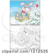 Cartoon Of An Outlined And Colored Rabbit Sledding Downhill Royalty Free Vector Clipart
