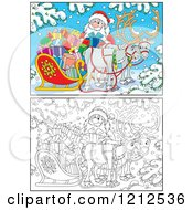 Cartoon Of An Outlined And Colored Santa Holding A Present By A Sleigh And Reindeer In The Snow Royalty Free Vector Clipart