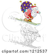 Cartoon Of An Outlined And Colored Santa Skiing Downhill With A Sack On His Back Royalty Free Vector Clipart