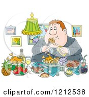Cartoon Of A Gluttonous Obese Man Eating A Feast Royalty Free Vector Clipart by Alex Bannykh