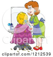 Cartoon Of A Female Hairstylist Cutting A Clients Hair Royalty Free Vector Clipart