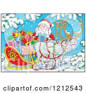 Cartoon Of Santa Holding A Present By A Sleigh And Reindeer In The Snow Royalty Free Vector Clipart