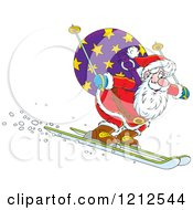 Cartoon Of Santa Skiing Downhill With A Sack On His Back Royalty Free Vector Clipart by Alex Bannykh