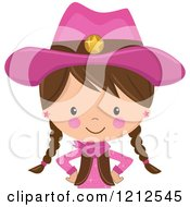 Cartoon Of A Brunette Cowgirl With Braids And A Pink Outfit From The Belly Up Royalty Free Vector Clipart by peachidesigns
