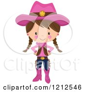 Cartoon Of A Cute Brunette Cowgirl With Braids And A Pink Outfit Royalty Free Vector Clipart