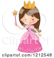 Cartoon Of A Cute Brunette Princess Girl In A Pink Dress Holding A Wand Royalty Free Vector Clipart