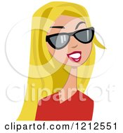 Cartoon Of A Beautiful Woman With Sunglasses And Long Straight Blond Hair Royalty Free Vector Clipart by peachidesigns #COLLC1212551-0137