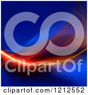 Clipart Of A Glowing Fiery Fractal Swoosh On Blue Royalty Free CGI Illustration