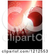 Clipart Of A Silhouetted Woman And Crowd Under A Disco Ball And Red Lights Royalty Free Vector Illustration
