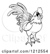 Cartoon Of An Outlined Chinese Zodiac Rooster Royalty Free Vector Clipart