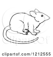 Cartoon Of An Outlined Chinese Zodiac Rat Royalty Free Vector Clipart by AtStockIllustration