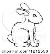 Cartoon Of An Outlined Chinese Zodiac Rabbit Royalty Free Vector Clipart by AtStockIllustration