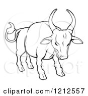 Cartoon Of An Outlined Chinese Zodiac Bull Royalty Free Vector Clipart by AtStockIllustration