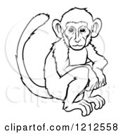 Cartoon Of An Outlined Chinese Zodiac Monkey Royalty Free Vector Clipart by AtStockIllustration