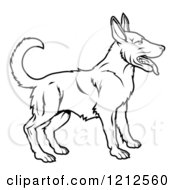 Cartoon Of An Outlined Chinese Zodiac Dog Royalty Free Vector Clipart by AtStockIllustration