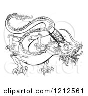 Cartoon Of An Outlined Chinese Zodiac Dragon Royalty Free Vector Clipart by AtStockIllustration
