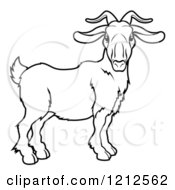 Cartoon Of An Outlined Chinese Zodiac Goat Royalty Free Vector Clipart by AtStockIllustration