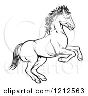 Cartoon Of An Outlined Chinese Zodiac Rearing Horse Royalty Free Vector Clipart