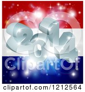Clipart Of 3d 2014 And Fireworks Over A Netherlands Flag Royalty Free Vector Illustration