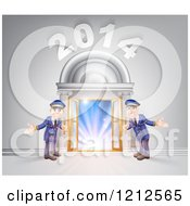 Cartoon Of A New Year 2014 Venue Entrance With A VIP Red Carpet And Welcoming Friendly Doormen Royalty Free Vector Clipart by AtStockIllustration