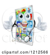 Cartoon Of A Pleased Cell Phone Mascot Holding Two Thumbs Up And Wearing A Stethoscope Royalty Free Vector Clipart