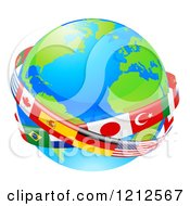 Clipart Of A Globe Earth With National Flag Banners Royalty Free Vector Illustration by AtStockIllustration