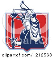 Retro Statue Of Liberty Holding Justice Scales And A Sword In A Red Shield