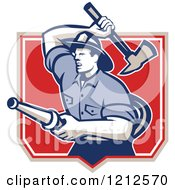 Clipart Of A Retro Fireman With A Hose And Axe In A Shield Royalty Free Vector Illustration