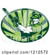 Clipart Of A Retro Tree Horticulturist With A Hedge Trimmer Over An Oval Of Green Rays Royalty Free Vector Illustration