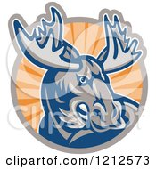 Clipart Of A Retro Angry Moose Over A Circle Of Orange Rays Royalty Free Vector Illustration by patrimonio