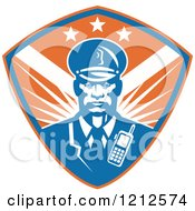 Clipart Of A Retro African American Security Guard Over A Blue And Orange Shield Royalty Free Vector Illustration by patrimonio