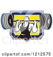 Clipart Of A Retro Strong Bodybuilder Lifting A Barbell Over A Shield Royalty Free Vector Illustration