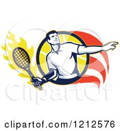 Clipart Of A Retro Male Tennis Player In A Flaming Circle Royalty Free Vector Illustration by patrimonio