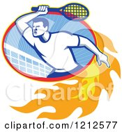 Clipart Of A Retro Male Tennis Player In A Flaming Oval With A Net Royalty Free Vector Illustration by patrimonio